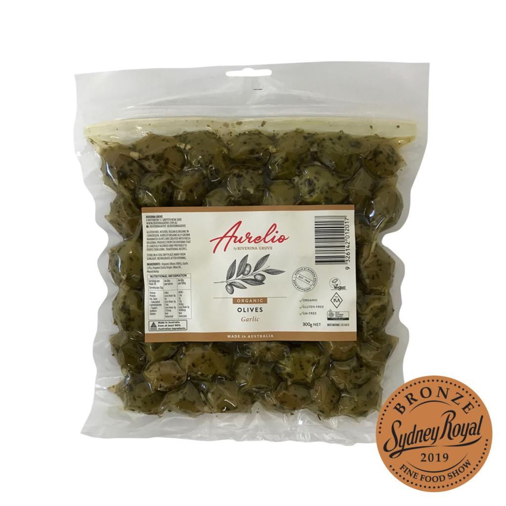 Organic Garlic Olives