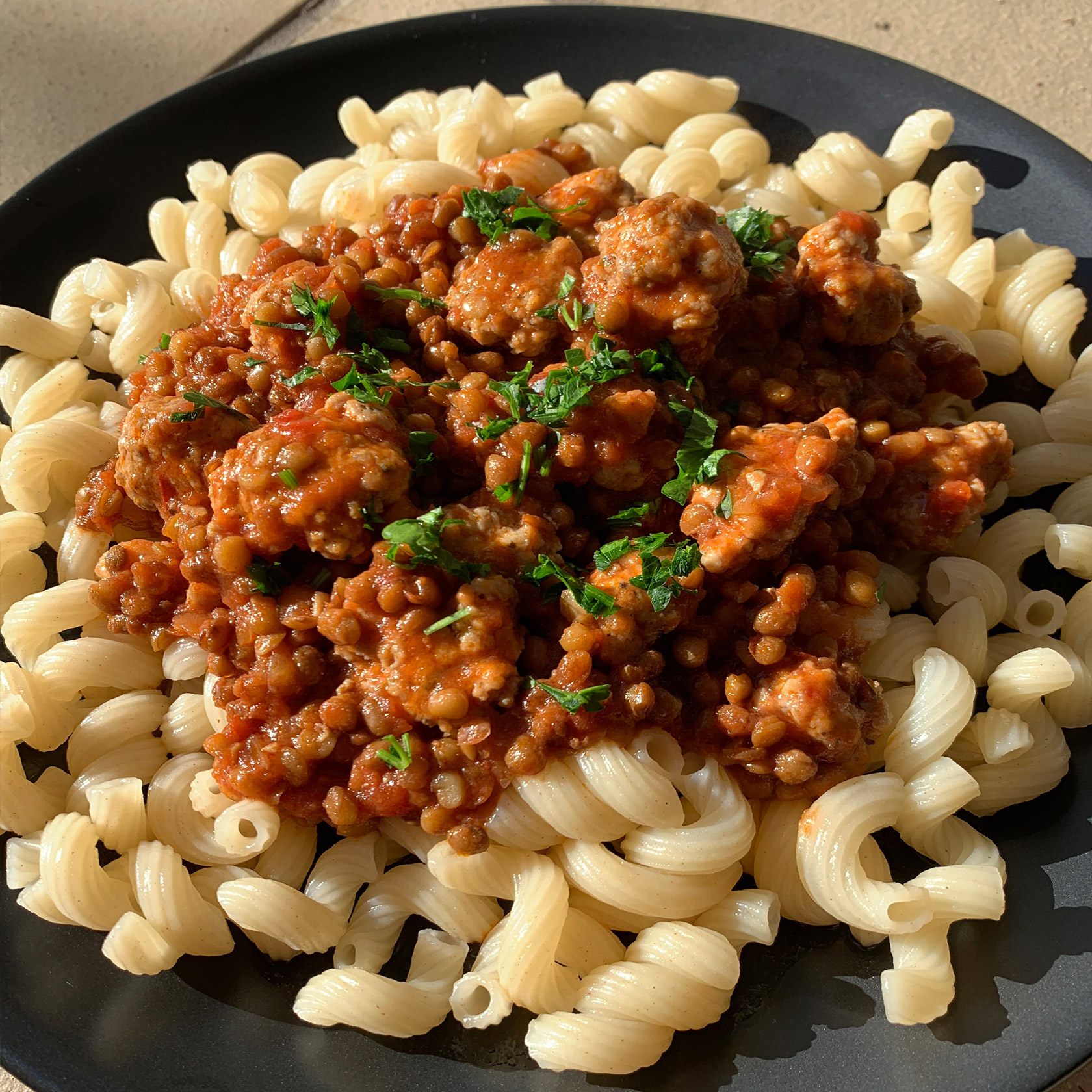 Lentil and Salchicha (sausage) with Pasta